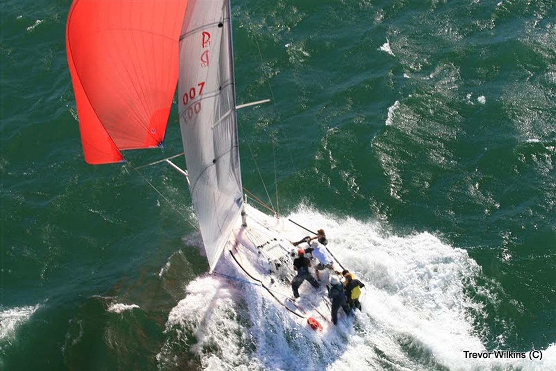 Pacer 27 Sport Boat blasting down wind during the 2010 Mykonos regatta.